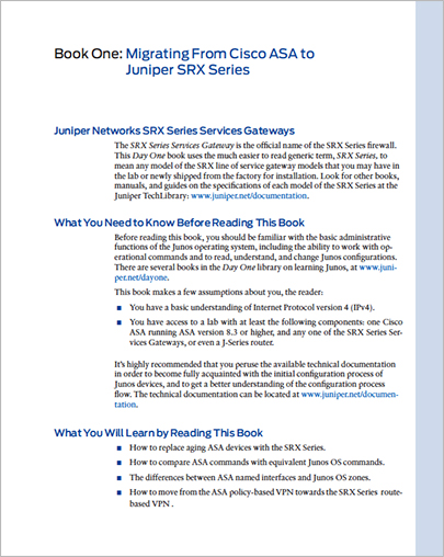 Book Sample Pages - Day One: Migrating from Cisco to Juniper