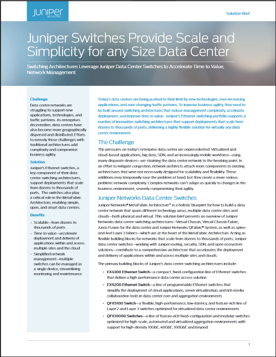 Architecture Design Brief network design and architecture center: data center - juniper networks