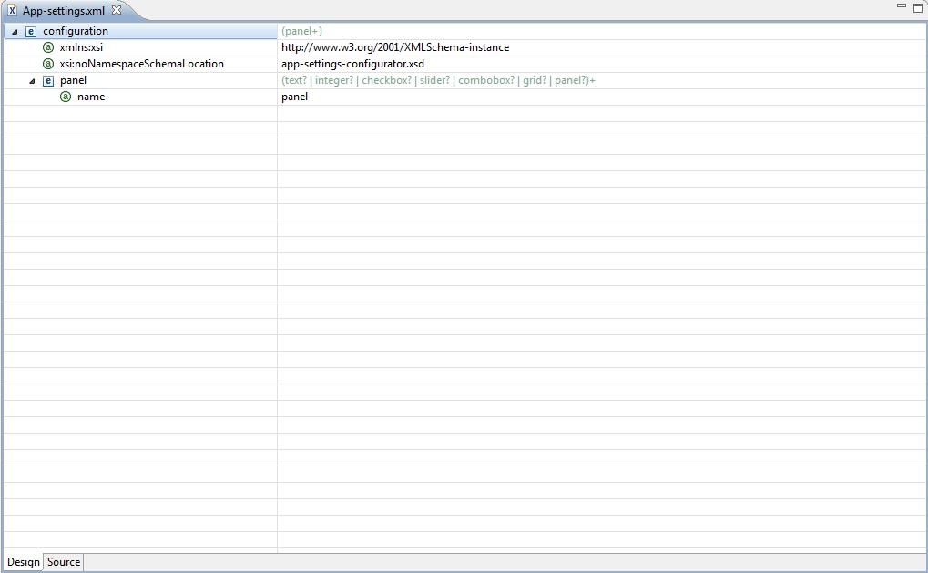 Using the App-Settings xml Editor