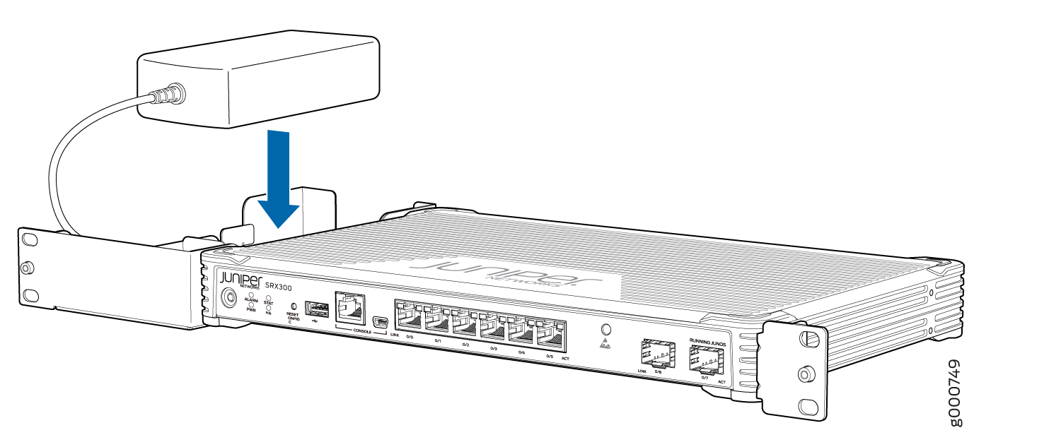 SRX300 Services Gateway Rack Installation — Positioning the Power Supply Adapter Tray