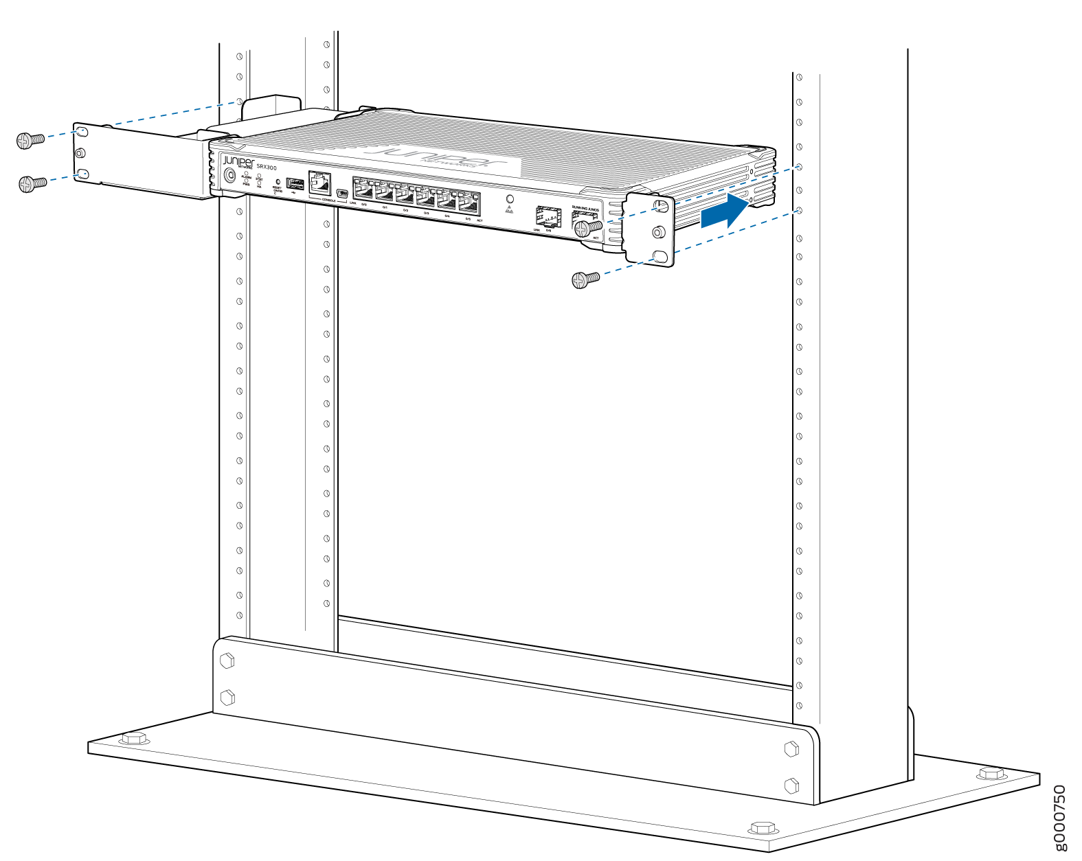 SRX300 Services Gateway Rack Installation — Positioning the SRX300 Services Gateway in a Rack