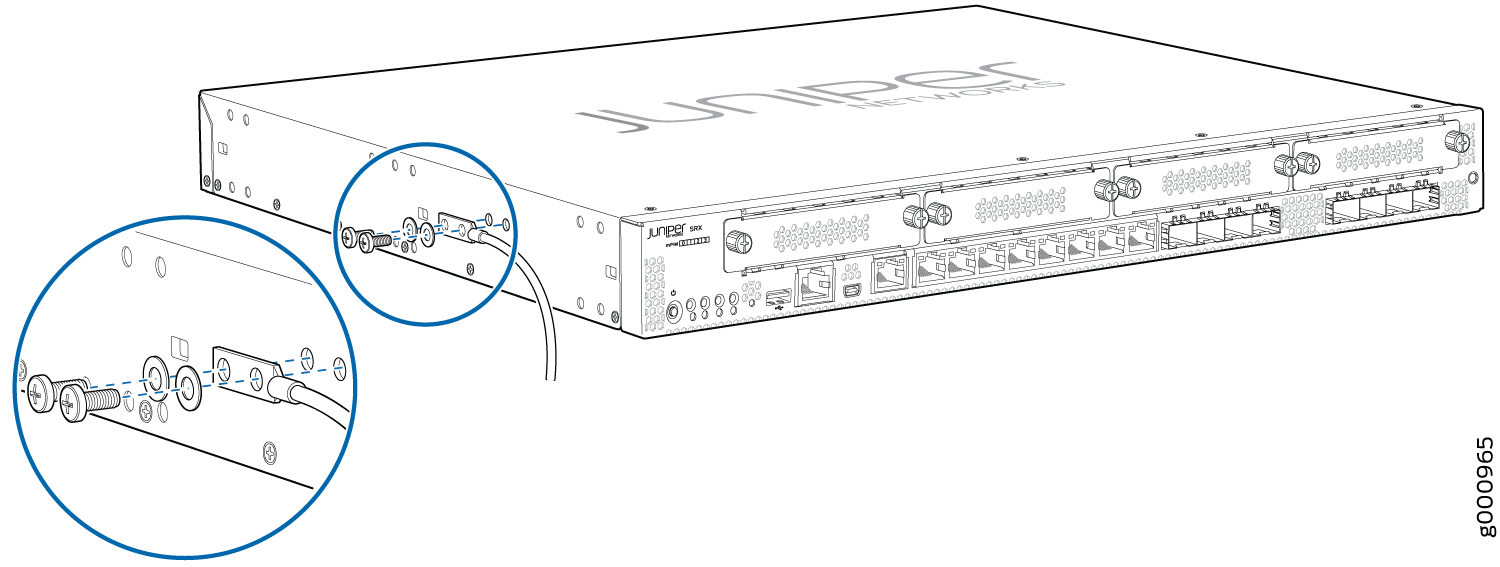 Connecting the Grounding Cable to the SRX345 Services Gateway