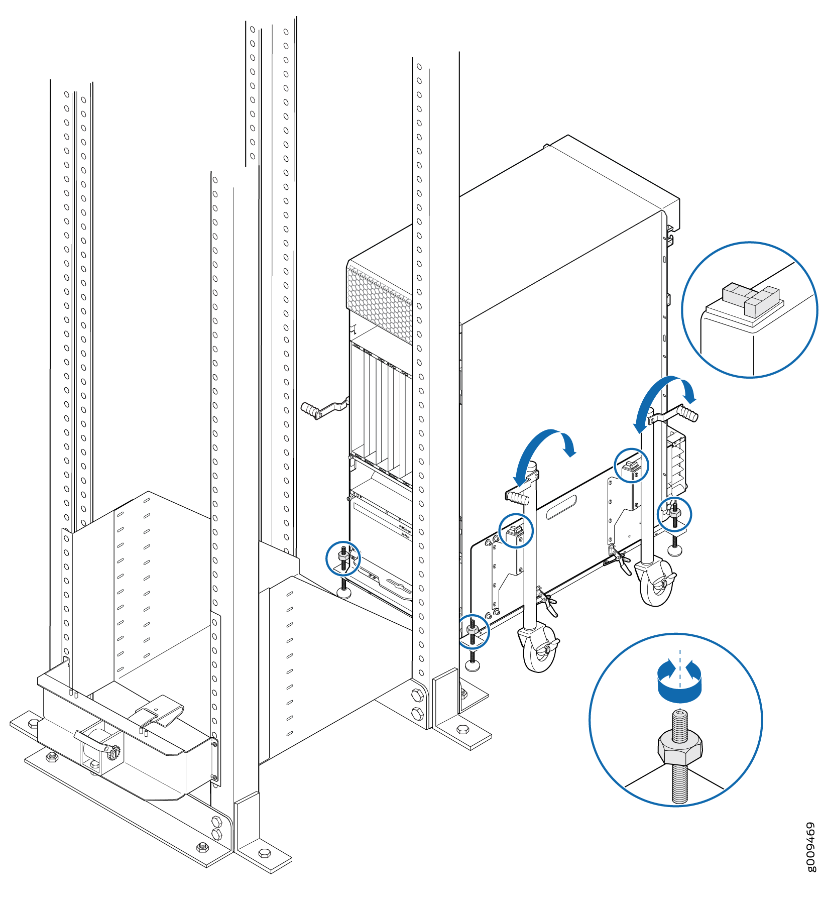 Align the MX2008 Router with Rack Mounting Shelf