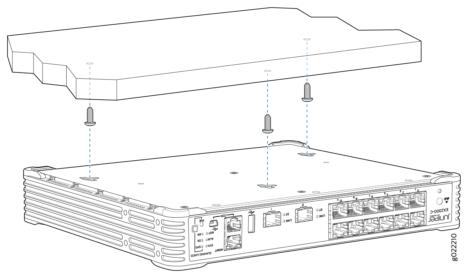 Mounting the EX2300-C Switch Under a Desk or Other Level Surface by Using Screws
