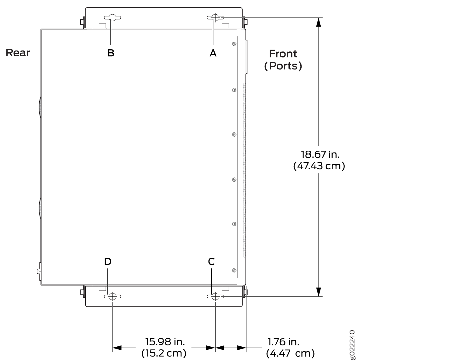 Measurements for Installing Mounting Screws to Mount an EX2300 Switch Except the EX2300-24MP and EX2300-48MP Models and the EX2300-C Switch on a Wall