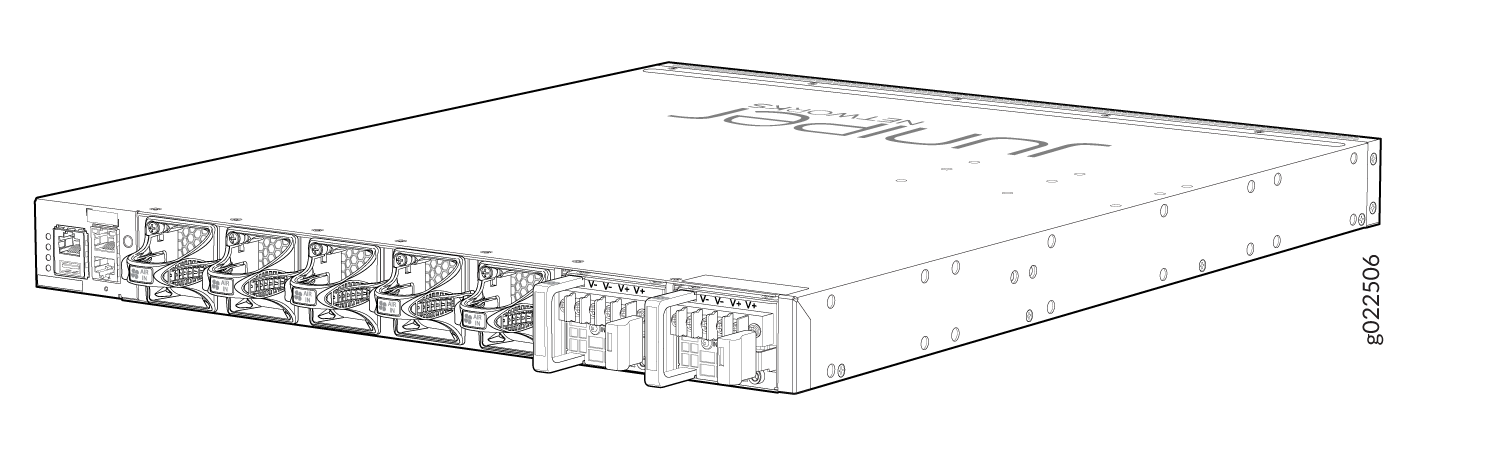 Rear Panel of a DC-Powered EX4650 Switch