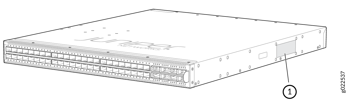 Location of the Serial Number ID Label on EX4650 Switches