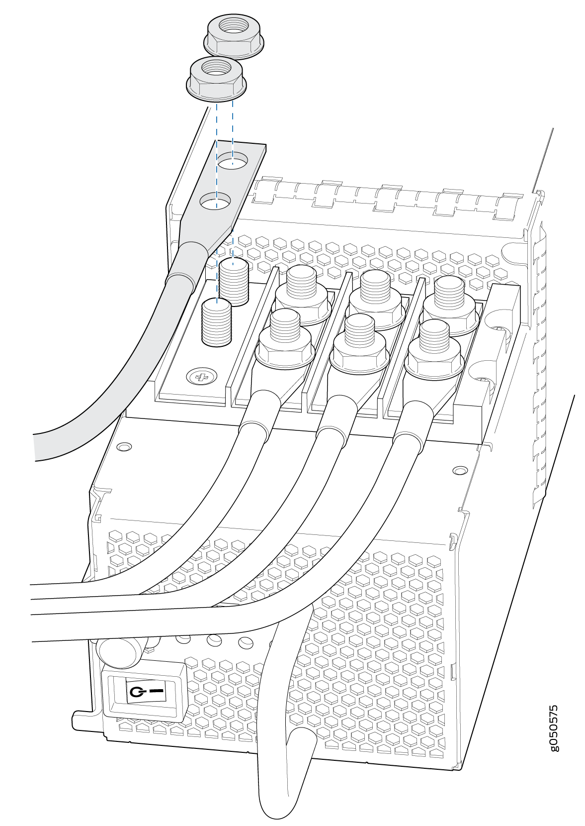 Connecting the DC Power Supply Cables to a PTX10000