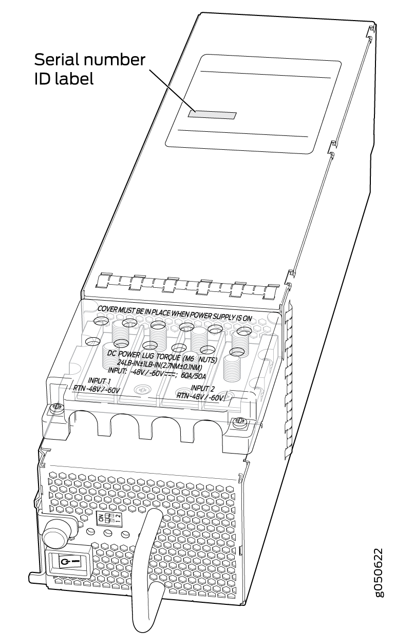JNP10K-PWR-DC Power Supply Serial Number Location