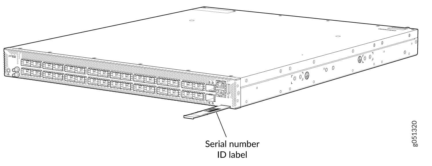 Location of the Serial Number ID Label on a QFX5130-32CD Switch