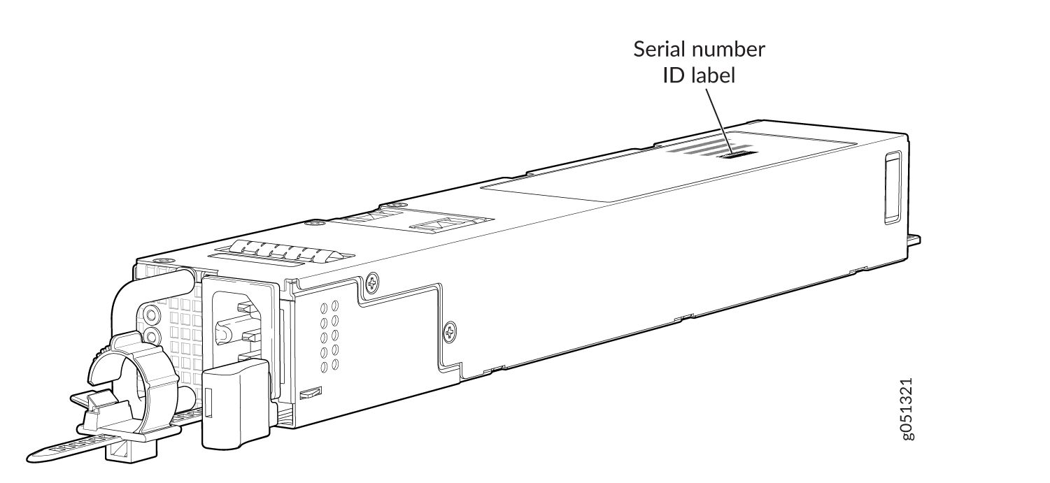 Serial Number ID Label on a QFX5130-32CD AC Power Supply
