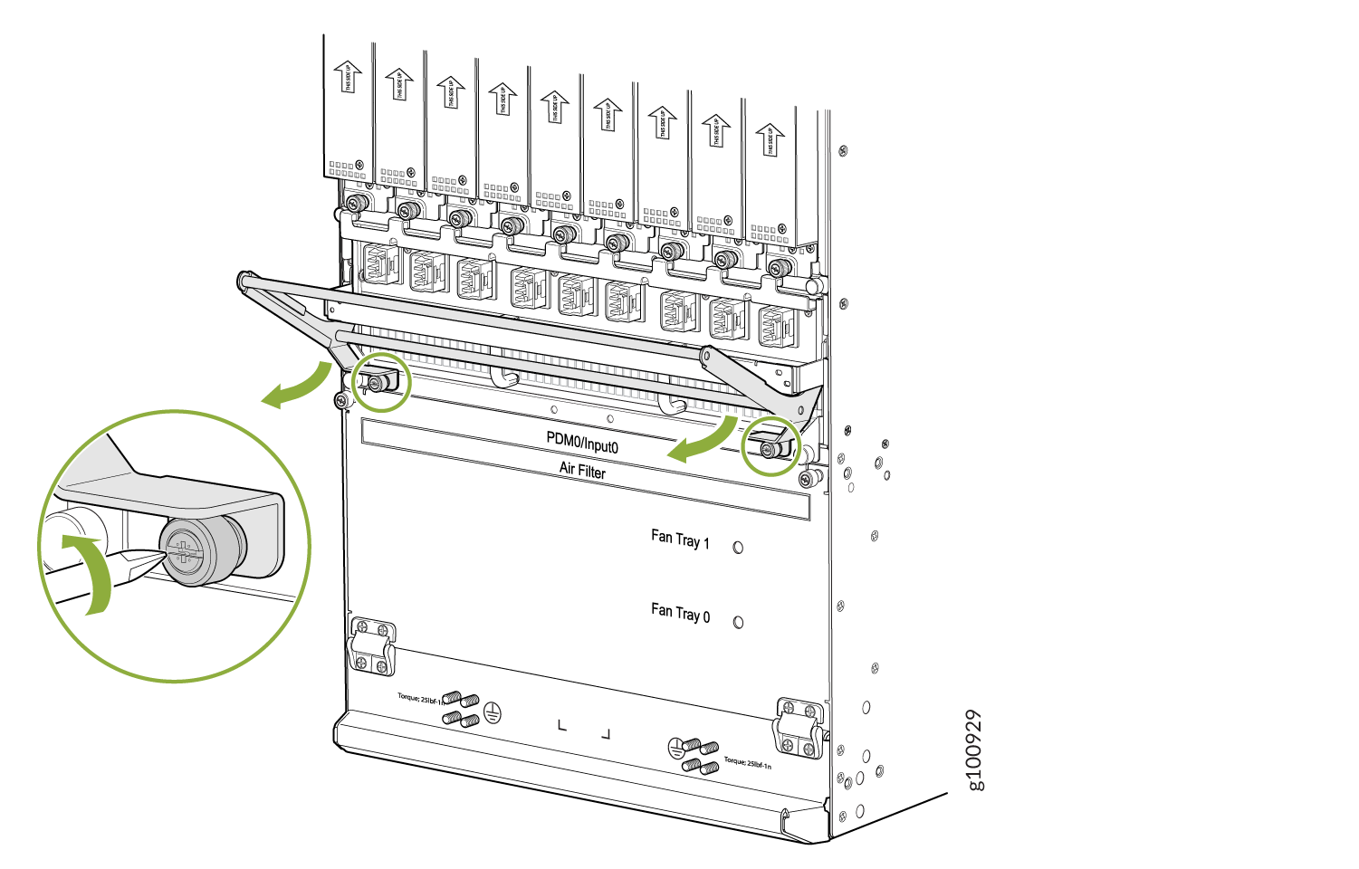 Removing the DC Cable Manager for DC PDM (240 V China) and the Universal (HVAC/HVDC) PDM