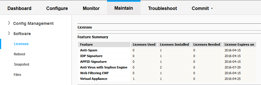 License Details Window