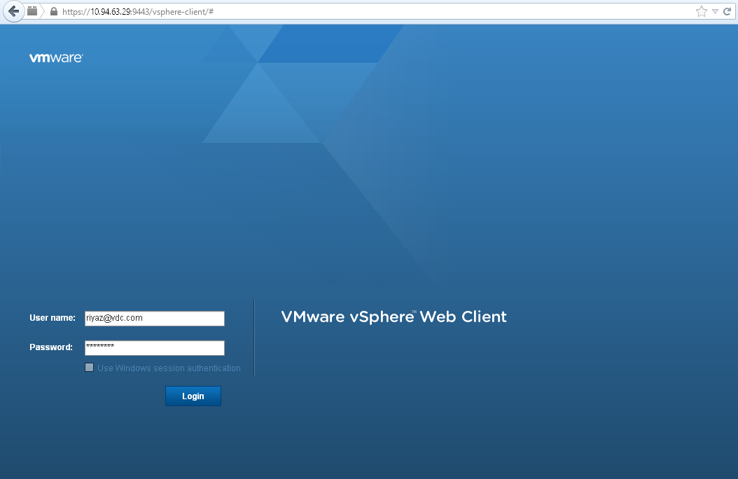 Log In to vCenter Server