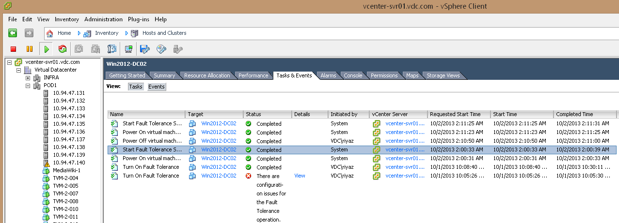 VMware Fault Tolerance on POD1