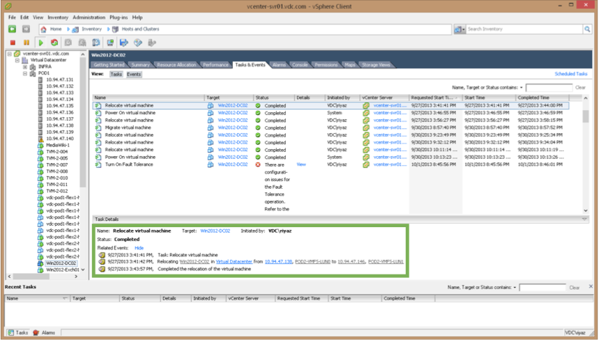VMware vMotion Configured in the Test Lab