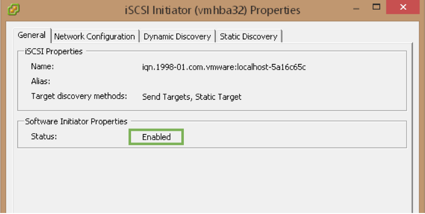 iSCSI Initiator Is Enabled