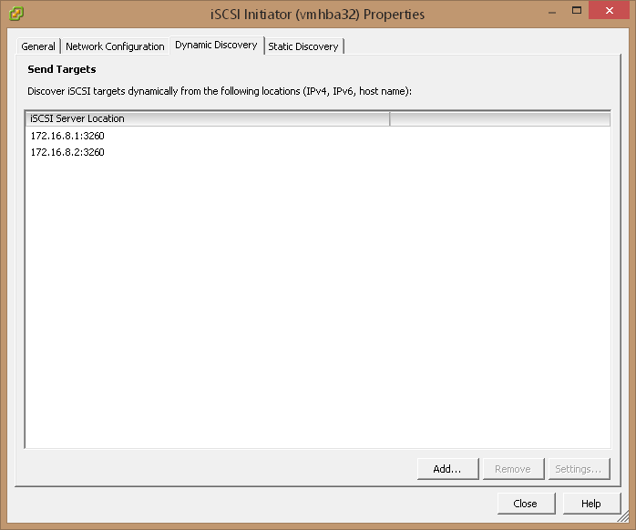 Add iSCSI Server Location in Dynamic Discovery