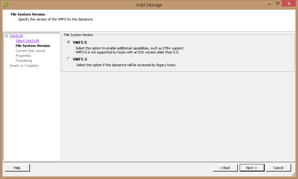 Select VMFS-5 as a File System