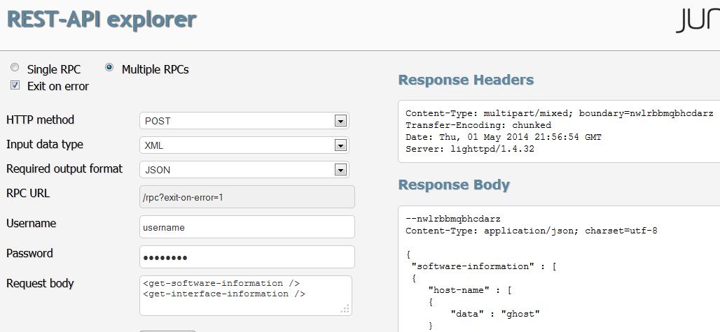 Example: Using the REST API Explorer - TechLibrary - Juniper