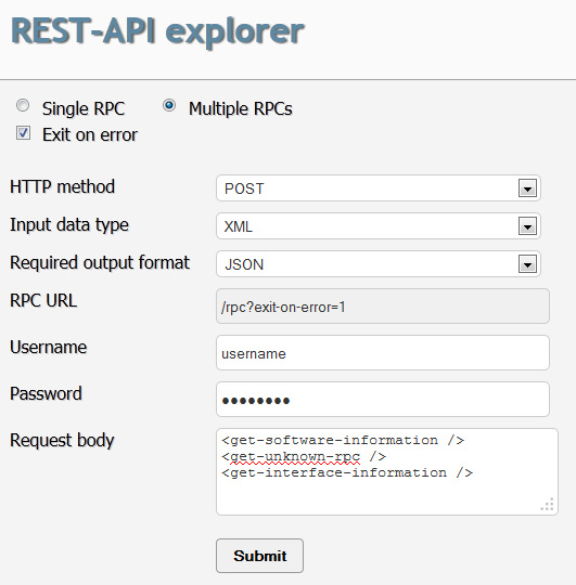 example: using the rest api explorer - techlibrary - juniper networks