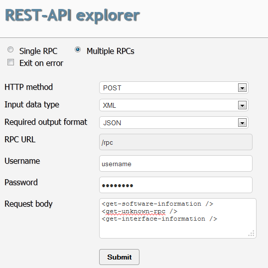 Example using the rest api explorer technical documentation support juniper networks for Restful api documentation template