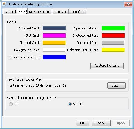 Hardware Modeling Options: View