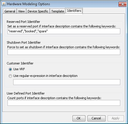Hardware Modeling Options: Identifiers