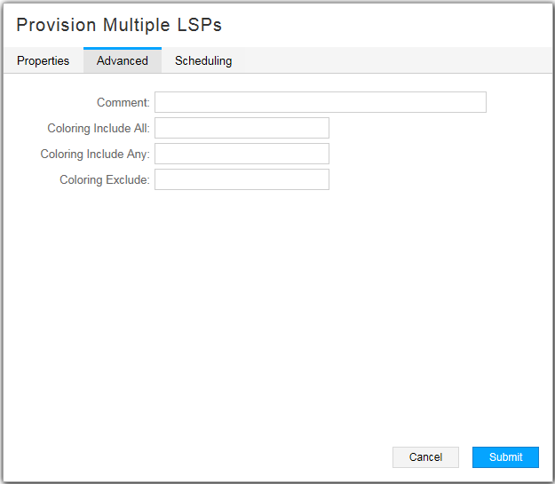Provision Multiple LSPs Window, Advanced Tab