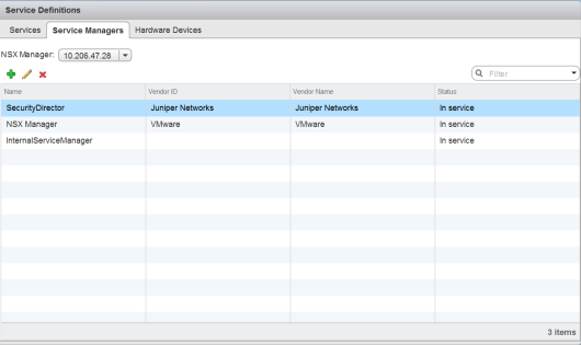 Deploying the vSRX as an Advanced Security Service in a VMware NSX