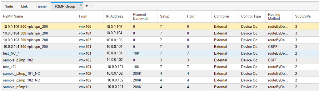 P2MP Group Tab in the Network Information Table