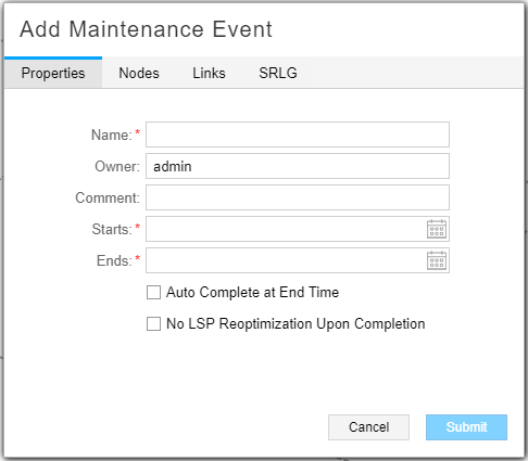 Add Maintenance Event Window, Properties Tab