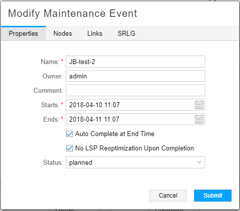 Modify Maintenance Event Window, Properties Tab