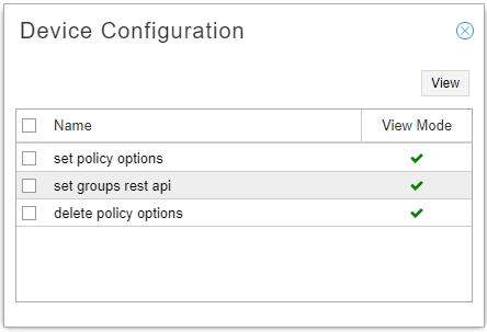 Device Configuration Window in View Mode
