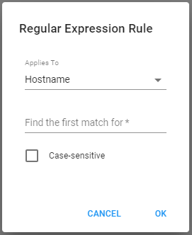 Regular Expression Rule Window