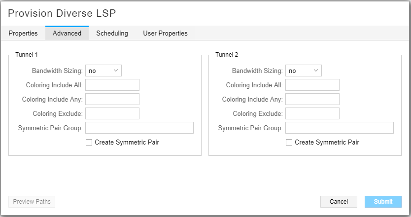 Provision Diverse LSP Window, Advanced Tab