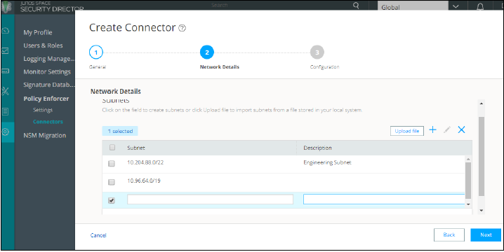 Create Connector Network Details Page