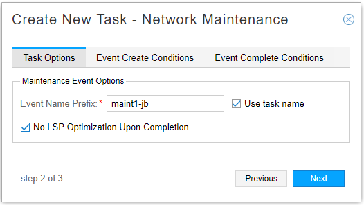Network Maintenance Task, Task Options Tab
