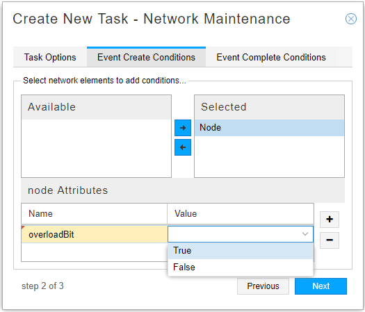 Network Maintenance Task, Event Create Conditions Tab
