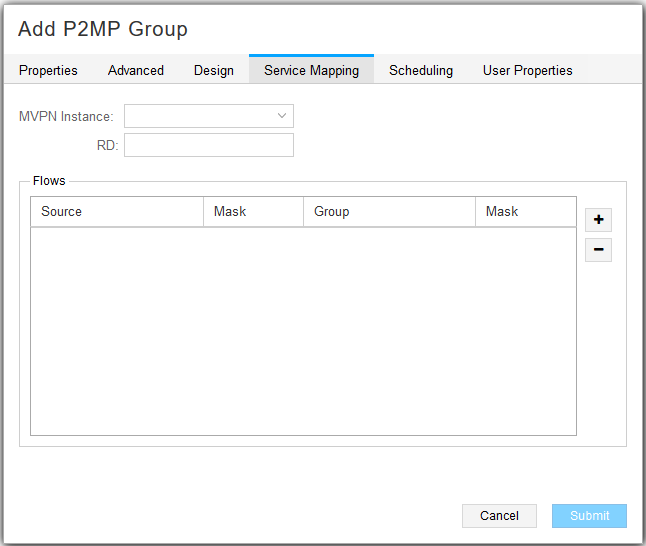 Add P2MP Group Window, Service Mapping Tab