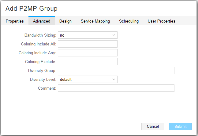 Add P2MP Group Window, Advanced Tab