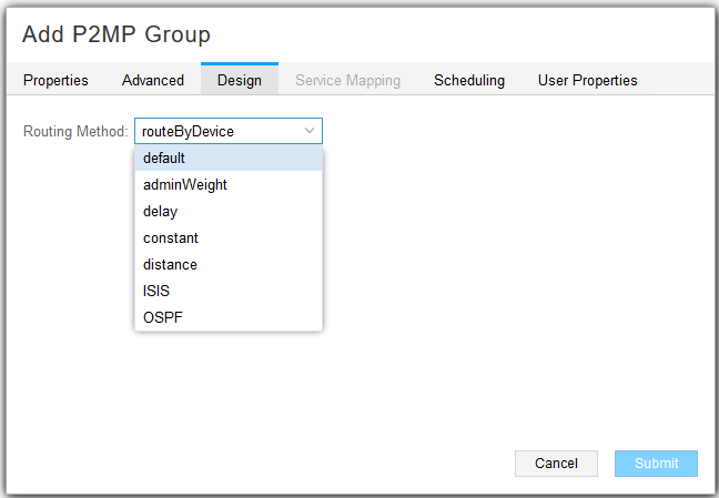 Add P2MP Group Window, Design Tab