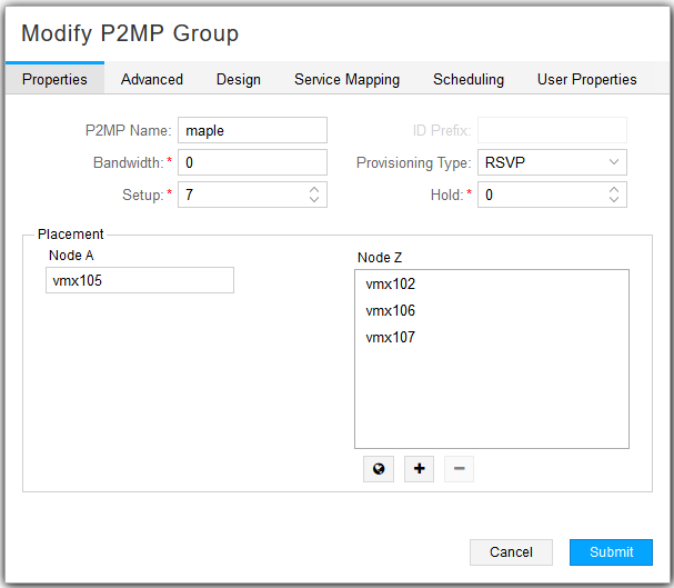Modify P2MP Group Window, Properties Tab
