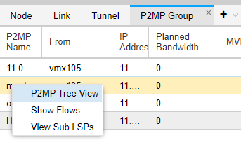 Right-Click a P2MP Group