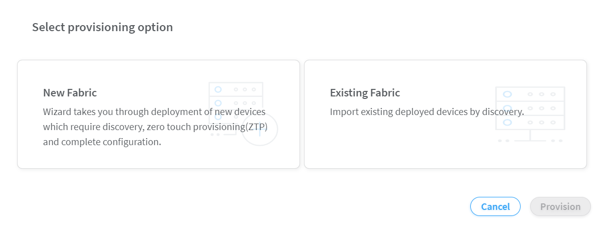 Select Provisioning Option