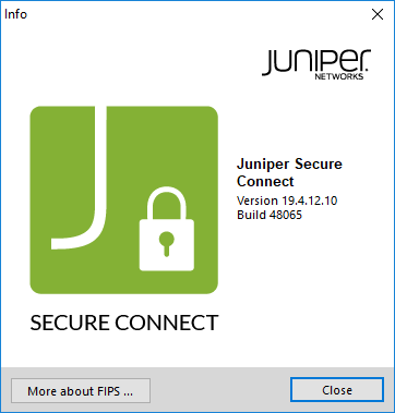 Displays Juniper Secure Connect Version Information