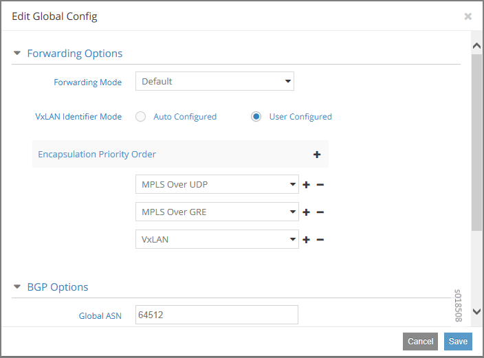 Edit Global Config Window for Encapsulation Priority Order