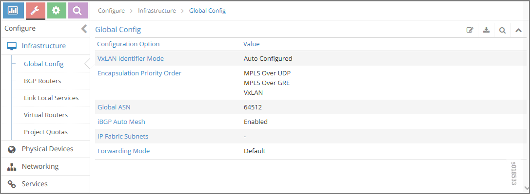 Global Config Window for VXLAN ID