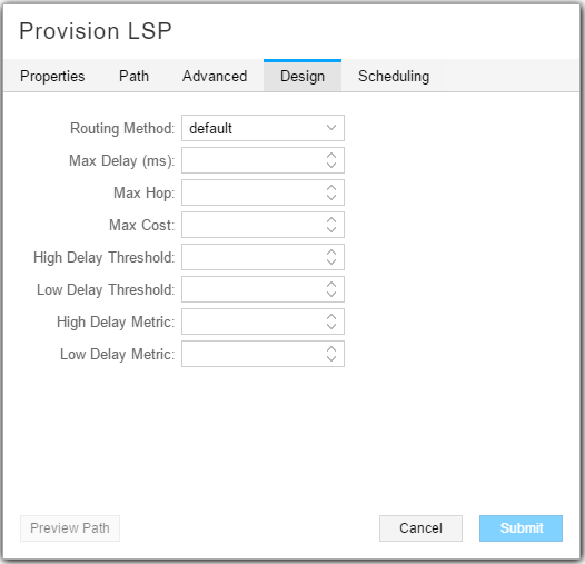 Provision LSP, Design Tab Showing Delay Thresholds