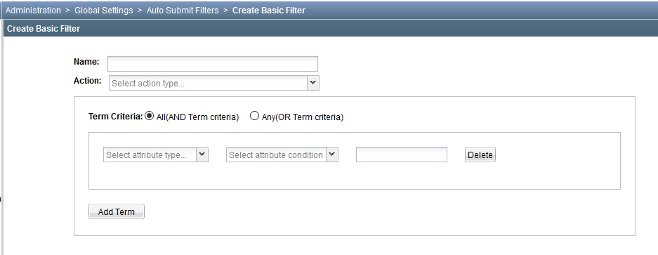 Create Basic Filter for Creating a Basic Auto Submit Filter
